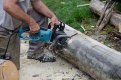 Pracownik z elektryczną piłą łańcuchową Fotografia Stock