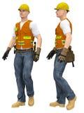 Pracownik z ochronnymi hełma i pracy rękawiczkami royalty ilustracja