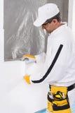 Pracownik załatwia izolacja panel Fotografia Stock