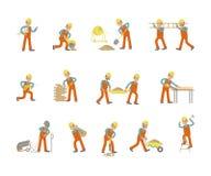 Pracownika Budowlanego charakter w różnorodnych pozach ilustracji