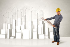 Pracownika budowlanego heblowanie z 3d budynkami w tle Zdjęcia Royalty Free