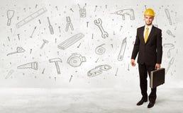 Pracownika budowlanego heblowanie z ręki rysować narzędziowymi ikonami Fotografia Stock
