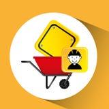 Pracownika budowlanego wheelbarrow znaka ruchu drogowego grafika Obraz Stock