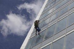 Pracownika cleaning okno na wzroscie Fotografia Stock