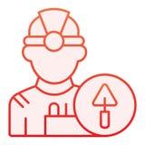 Pracownika mieszkania ikona Budowniczy czerwone ikony w modnym mieszkanie stylu Inżyniera gradientu stylu projekt, projektujący d ilustracja wektor
