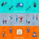 Pracowników ochrony horyzontalni sztandary ustawiający Obraz Royalty Free