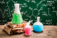 Practical chemical tests in laboratory Stock Image
