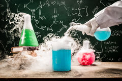 Practical chemical tests in university lab Stock Image