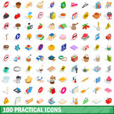 100 practical icons set, isometric 3d style. 100 practical icons set in isometric 3d style for any design vector illustration Royalty Free Stock Photos