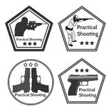 Practical shooting man and rifle targets illustration Royalty Free Stock Image