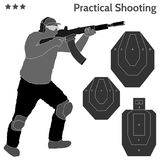 Practical shooting man and rifle targets illustration Stock Photo