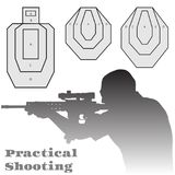 Practical shooting man and rifle targets illustration Royalty Free Stock Images