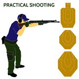 Practical shooting man and rifle targets illustration Royalty Free Stock Photos