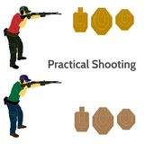 Practical shooting man and rifle targets illustration Stock Photography