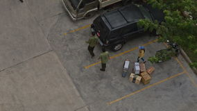 Practical Training of Fire Brigade Men Carry Boxes to Parking stock video footage