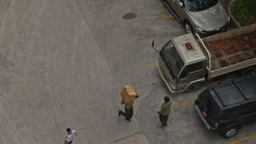 Practical Training of Fire Brigade Men Carry Boxes to Parking stock footage