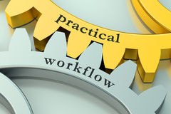 Practical workflow concept on the gearwheels Royalty Free Stock Images