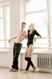 Practice in aerobics room Royalty Free Stock Photo
