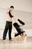 Practice in aerobics room Stock Photo
