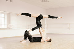Practice in aerobics room Royalty Free Stock Photography
