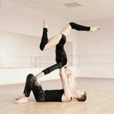 Practice in aerobics room Royalty Free Stock Image