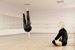 Practice in aerobics room Royalty Free Stock Photo