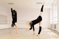 Practice in aerobics room Stock Images