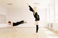 Practice in aerobics room Stock Image