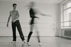 Practice in aerobics room. Bw Royalty Free Stock Image