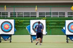 Practice archery, sport of the Thai national team. At Rajamangala National Stadium stock photos