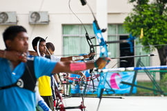 Practice archery, sport of the Thai national team Stock Photos