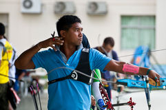 Practice archery, sport of the Thai national team. BANGKOK , THAILAND - JUN 22: Unidentified Archery Practice within the field. Rajamangala Stadium for a stock image