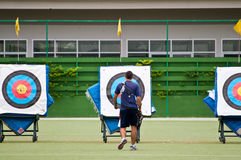 Practice archery, sport of the Thai national team. BANGKOK , THAILAND - JUN 22: Unidentified Archery Practice within the field. Rajamangala Stadium for a stock photography