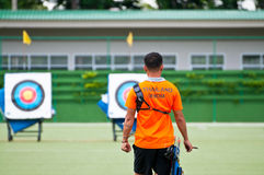 Practice archery, sport of the Thai national team. BANGKOK , THAILAND - JUN 22: Unidentified Archery Practice within the field. Rajamangala Stadium for a stock images