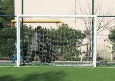 Practice area and football goalpost. In Turkey. Front view shot Stock Photography
