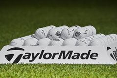Practice Balls - Taylormade - Macro. Practice balls, set up before the start of play on the final day of play Royalty Free Stock Photography