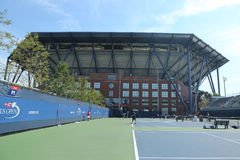 Practice courts and newly Improved Arthur Ashe Stadium at the Billie Jean King National Tennis Center. NEW YORK - AUGUST 25, 2016: Practice courts and newly royalty free stock photos