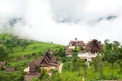 Practice the dharma school. Among fog on the mountain Royalty Free Stock Photo
