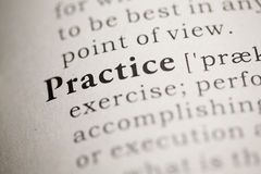 Practice. Fake Dictionary, Dictionary definition of the word Practice. including key descriptive words Stock Images