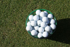 Practice Golf Balls. A bucket of practice range golf balls Royalty Free Stock Photography
