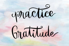 Practice gratitude handwritten message Stock Images