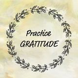 Practice gratitude message on painted background Royalty Free Stock Images