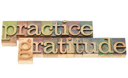 Practice gratitude in wood type Stock Images