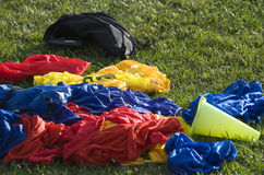 Practice Jerseys. A pile of colorful practice shirts Royalty Free Stock Images