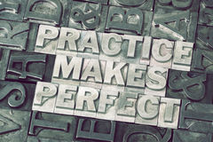 Practice makes perfect met Royalty Free Stock Photo