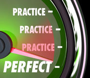 Practice Makes Perfect Speedometer Gauge Measure Performance Per. Practice word repeated on a speedometer or gauge and needle hitting word Perfect to illustrate Royalty Free Stock Photo