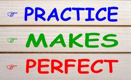Practice Makes Perfect. PRACTICE, MAKES and PERFECT written on wood wall decor. Business concept royalty free stock photo