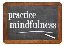 Practice mindfulness blackboard sign Royalty Free Stock Photography