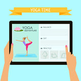 Practice Of Yoga Theme. Conceptual Illustration With Hands Holding Digital Tablet And Pointing On Screen With Website About Yoga Stock Photos