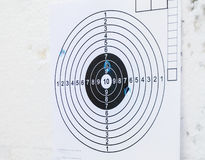Practice paper target shoot hole hit mark Stock Image